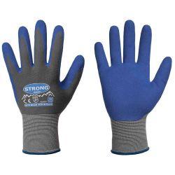 Nitriili-foam-PU-pinnoitettu nylonkäsine, harmaa-sininen.
