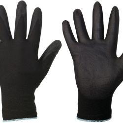 Hyvin istuva musta PU-pinnoitettu nylon-käsine.