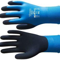 Aqua. Tehty 13 gaugen nailonista ja rystypuoli on päällystetty kokonaan lateksilla; se suojaa käsiä vedeltä.